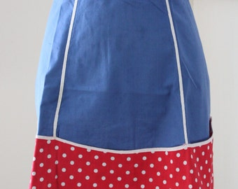 Blue, Red and White Apron