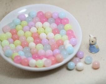 50pcs  8mm  Pastel Color Round   Acrylic  Beads