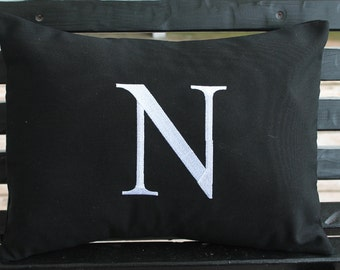 Monogrammed Outdoor Pillow Cover in Black | Personalized | Alphabet | Embroidered | Initial | Wedding