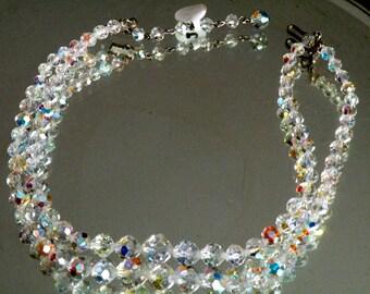 Vintage Double strand Aurora Borealis Crystal Necklace