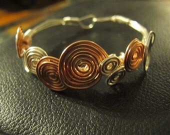 Bracelet silver copper wire wrapped bangle bubble bracelet mixed metal