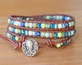 SALE Bohemian beaded leather wrap bracelet, trendy, blue green aqua, octopus, sea nautical jewelry, gift idea, hipster