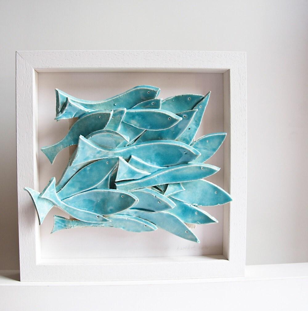 Ceramic wall art ceramic tile school of fish modern by karoart for Fish wall art
