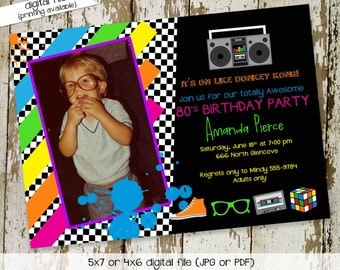 80s birthday invitation Totally awesome 80s retro boom box black white checkers bright colors coed couples dress up theme evite (item 260)