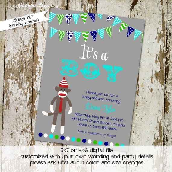 sock monkey baby shower it's a boy diaper couples sip and see birthday party gender reveal twin baptism (item 1225) shabby chic invitations