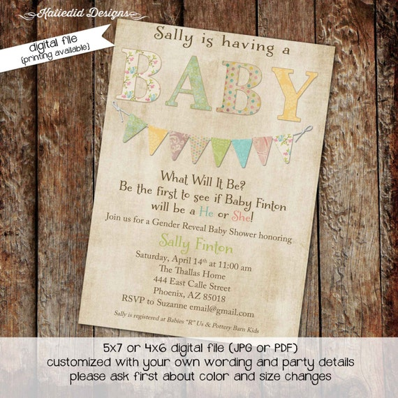 gender reveal invitation gender neutral baby shower bring a book baptism diaper bash twins baby sprinkle (item 1435) shabby chic invitations