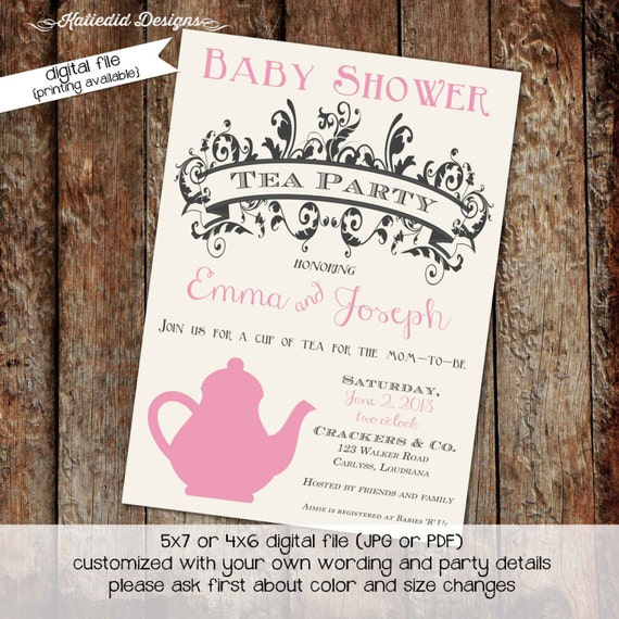 rustic baby girl shower invitation tea party birthday invitation storybook once upon a time diaper wipe brunch co-ed 1438 Katiedid Designs