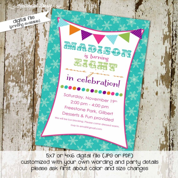 birthday party invitation scalloped edges and banner with snowflakes, digital, printable file (item 279)