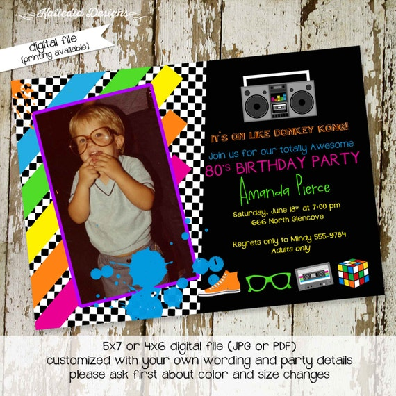 co-ed party invitation adults only birthday totally 80's party theme throwback birthday invite surprise birthday 30th 260 Katiedid Designs