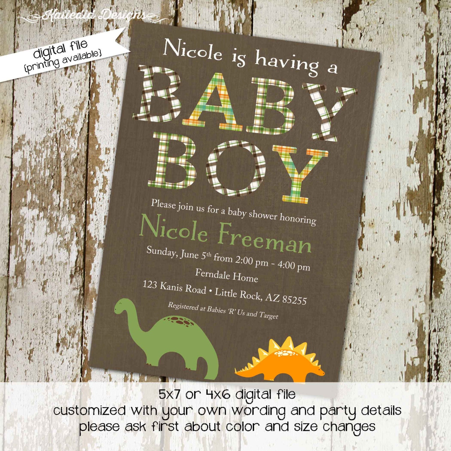 Dinosaur Baby Shower Invitation Boy Sprinkle Diapers Couple Birthday Birth  Announcement Coed Evite Book (item 1206) Shabby Chic Invitations