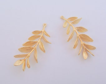 Matte Gold Tarnish Resistant  Tree Branch with leaves pendants, connectors, 2 pc, U214725