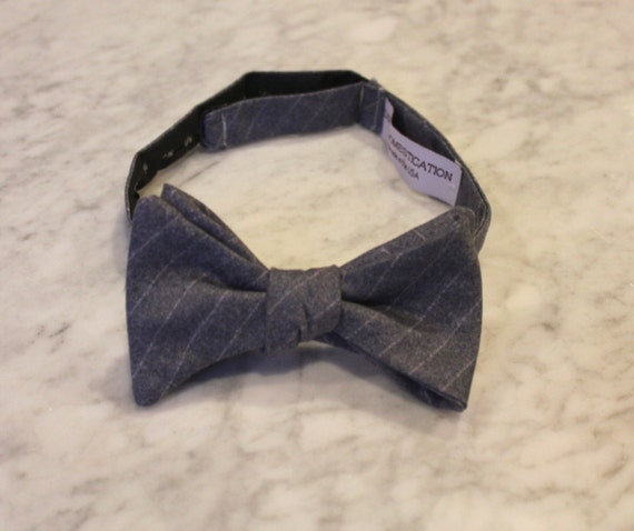 Bow Tie in Charcoal Stripe - Groomsmen and wedding tie - clip on, pre-tied with strap or self tying