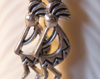 Kokopelli Earrings in antiqued silver finish. Fertility Deity Native American Culture.