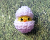 Hide-A-Peep Easter Chick with Egg Mini Crochet Plushie, 2 inch Easter Basket Gift Plush Toy