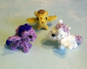One Mini Baby Pegasus Crochet Plushie - 2 inch Stuffed Flying Pony - Choose your colors, Made to Order