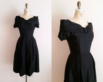 Vintage 1950s Dress / Black Satin Cocktail Dress / Small / Little Black Dress