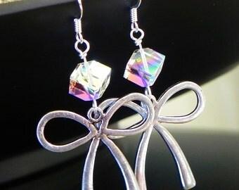Silver Ribbon Dangle Earrings