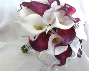 Calla lily bridal bouquet Plum eggplant and white mini real touch calla lily Wedding bouquet set