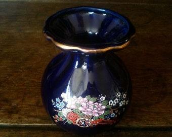 Vintage English Dark Blue Flower Vase circa 1970's / English Shop
