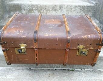 Vintage English brown travel trunk suitcase circa 1950's / English Shop