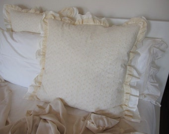 Pillow shams with lace trim- euro shams 26x26- shabby chic bedding Ivory white EYELET lace ruffled bedding-sofa couch decorative pillow