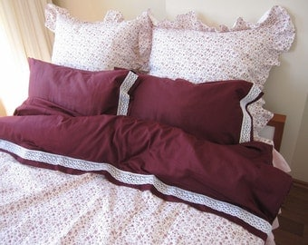 Cal King or Queen custom size Duvet cover cotton lace trim Bedding 3 pcs burgundy white small floral Turkey Istanbul Nurdanceyiz style