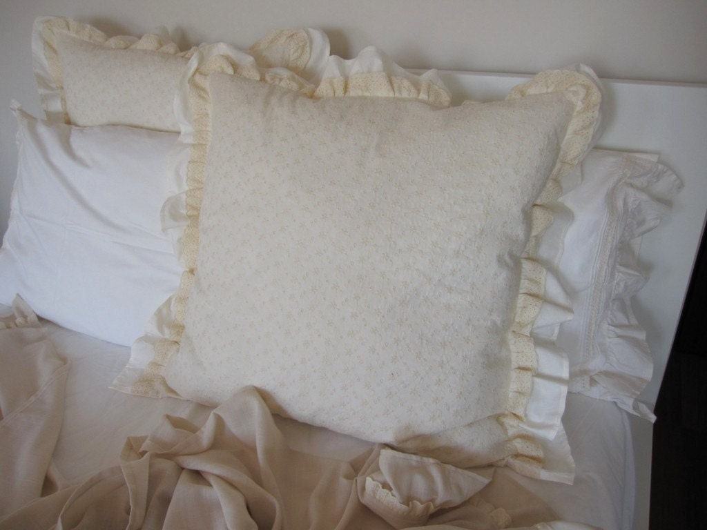 Dorm decor pillows-Euro Pillow sham-Ivory white embroidery