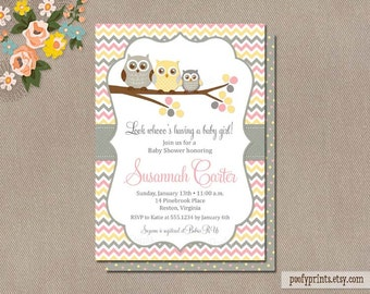 Owl Baby Shower Invitations - DIY Printable Baby Girl Shower Invitations - Susannah Collection