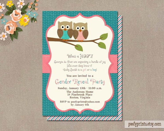 Gender Reveal Party Invitations - Owl Baby Shower Printable Invitations - Georgia Collection