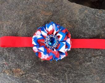 4th of July Chevron Flower Headband