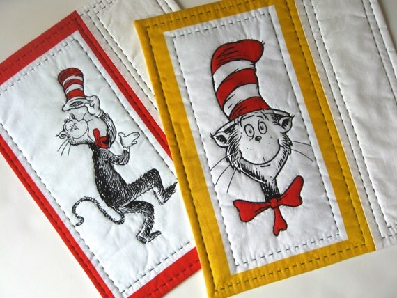 Dr Seuss Mug Rugs The Cat In The Hat Quilted Set Of 2 Snack