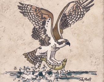 """BacksplashTile Osprey Fishing On The FlyTile 6""""x6"""" Sally Rhett Ceramics & Pottery Painted Backsplash Tile Wall Decor Coaster Trivet For Him"""