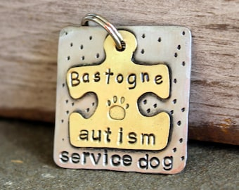 Service and Therapy Dog tag- Personalized mixed metal tag for your Service Dog- Austism Service Dog