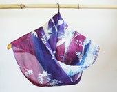 Silk scarf, hand printed, hand dyed, hand painted, unique scarf