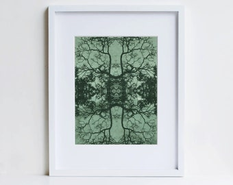 Mandala, original modern print on handmade paper, ooak art, forest green woodland