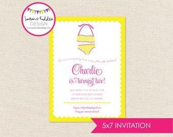 Yellow Polka Dot Bikini Birthday, Summer Birthday Invitation, Girl Summer Printables, Pink Summer Decorations, Lauren Haddox Designs