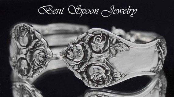 Spoon Jewelry, Spoon Bracelet , Antique Bride 1909 recycled Silver Spoon Bracelet..Silverware Jewelry