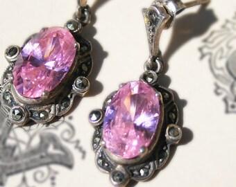 Vintage Pink Sterling Silver Marcasite Earrings Cubic Zirconia