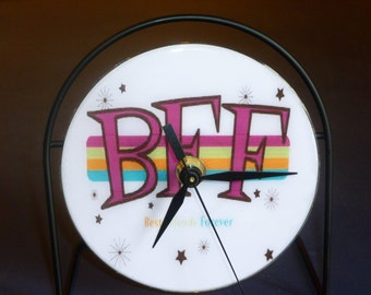 BFF  Recycled CD Clock Art