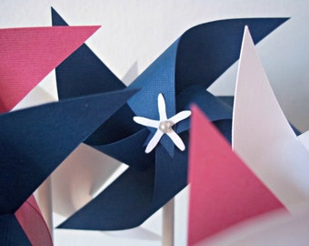 Girly Nautical Paper Pinwheel Set. Pink, White & Navy Blue. Birthday Favors, Baby Shower, Party Decor. (set of 10 small)