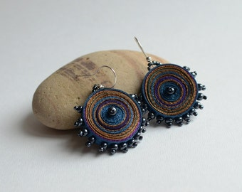 Dangle textile earrings purple blue brown, fiber earrings  round -Textile jewelry OOAK ready to ship