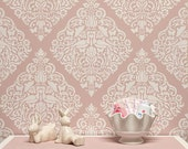 Vintage Lace Bird Wall Stencil for Allover Shabby Chic Damask Wallpaper Look