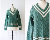 Vintage Wool Sweater Green Knit Varsity Sweater 70s Cable Knit V Neck Oversized Sweater Women's Medium / Large Men's Small / Medium