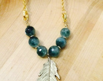 Green beaded gold leaf necklace