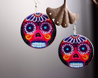 Sugar Skull (Dia de Los muertos) Pink Earrings