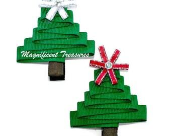 Christmas Tree Ribbon Sculpture Hair Clip or Pin