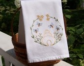 Embroidered Tea Towel/Kitchen Dish Towel Sweet Nature Bumble Bees