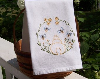 Sweet Nature Bumble Bees Tea Towel,Embroidered Kitchen Dish Towel, Embroidered Tea Towel, Embroidered Kitchen Towel, Embroidered Dish Towel