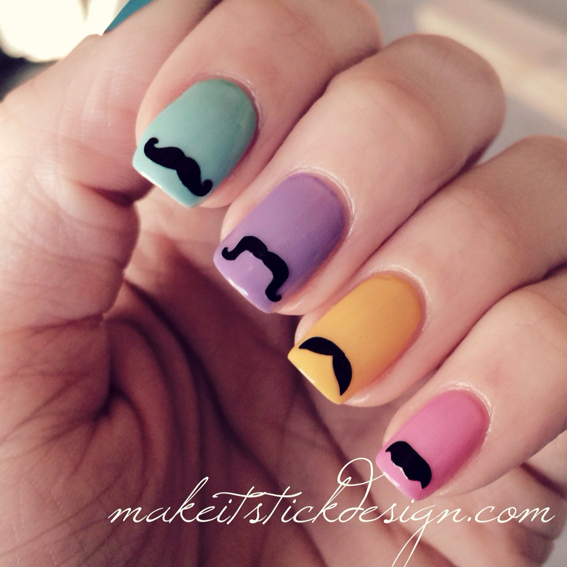 Variety Of Nail Art By Yours Truly: Mustache Variety Pack Nail Decals Set Of 50 By