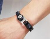 Star Mark Pointed Vintage Style Leather Bracelet(BLACK)
